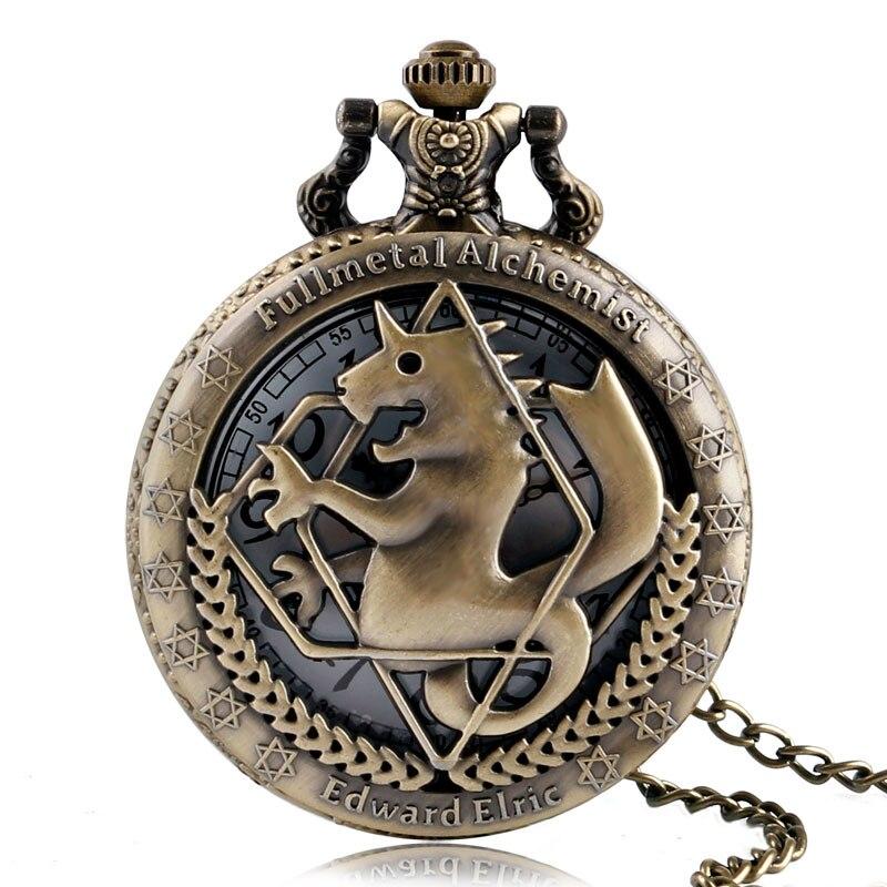 Moda w całości z metalu alchemik miedziany zegarek kieszonkowy kwarcowy mężczyźni stary naszyjnik kobiety modne zegarki brązowy zegar dzieci prezent