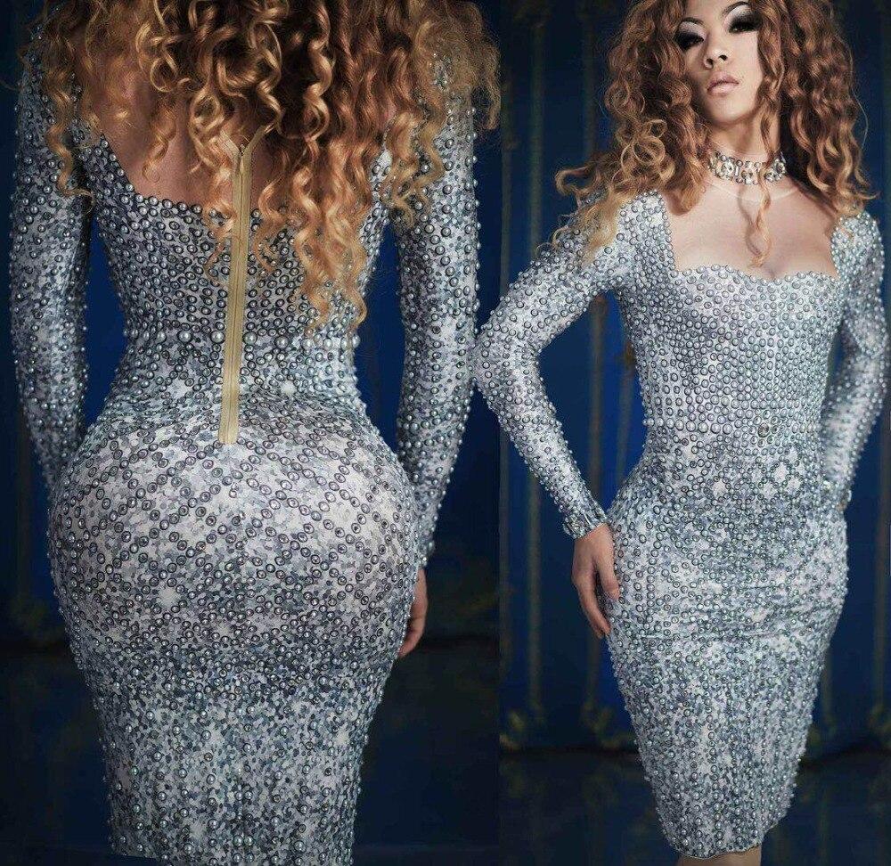 Modne perły dżetów sukienka strój wieczorowy długie rękawy Prom Nude szary sukienka piosenkarka urodziny świętować sukienki w Suknie od Odzież damska na  Grupa 2