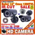 Verdadeiro HD 1/3 cmos Sensor 1200TVL IP66 À Prova D' Água Dia/N Segurança AHDL IRCUT Câmera de CCTV Ao Ar Livre Indoor vídeo Visão 36led infravermelho