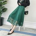 2016 Новый Осень Зима макси юбки женщин высокой талии плиссированные юбки пряжи Кружево тюля, юбка хорошее качество 3 цвета