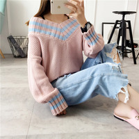 Winter Women New Fashion Casual Pullovers Loose Tops Clothing Puff Long Sleeve Cashmere Knitted Vintage Jumper