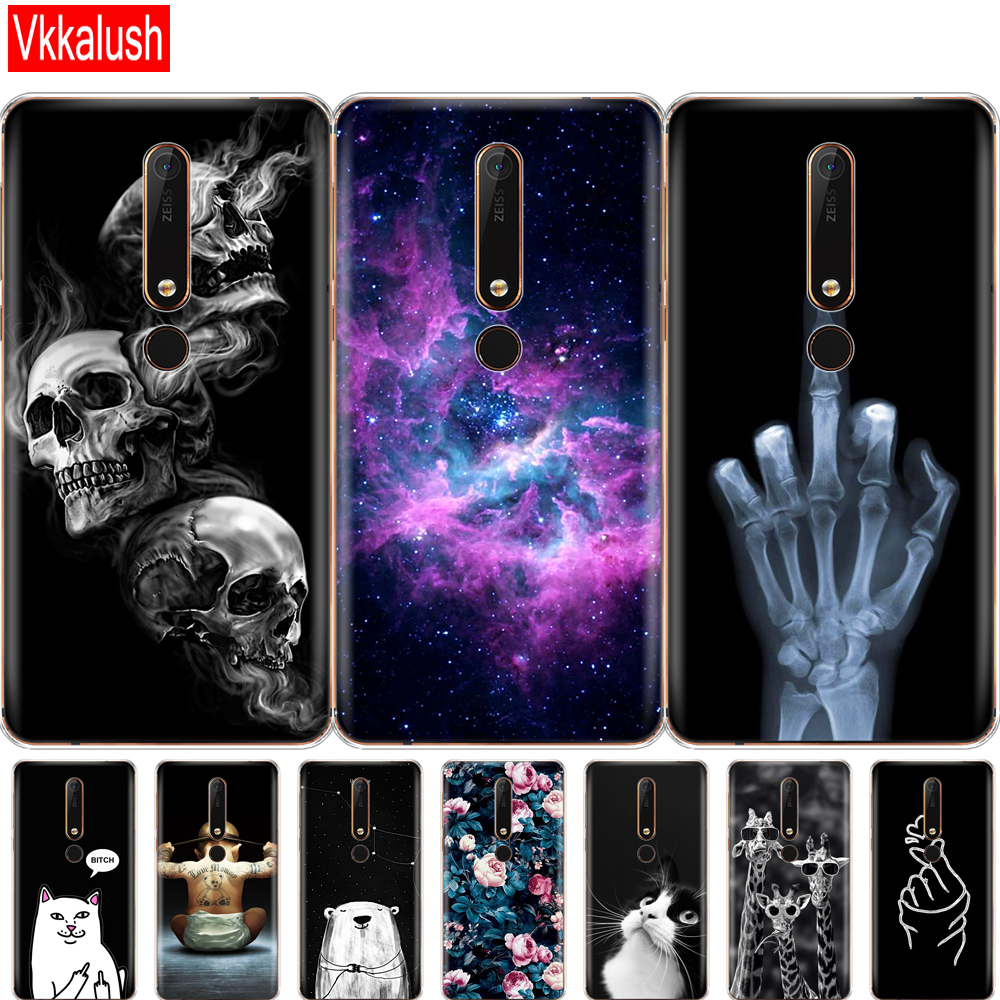 Silicon Shell Case For <font><b>Nokia</b></font> 6 <font><b>6.1</b></font> 7 Plus 8 9 <font><b>Nokia</b></font> 6 2018 X5 X6 Case Soft TPU Phone Back Cover Coque Bumper Painting Pattern image