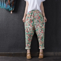 Lively spring full rose flowers rustic personalized denim hole harem pants trousers 2018 spring