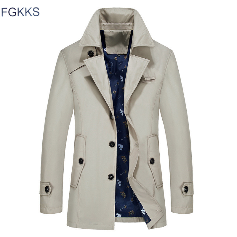 FGKKS Men Trench Jacket Overcoat Long Male Fashion-Brand Casual Lapel Solid Slim
