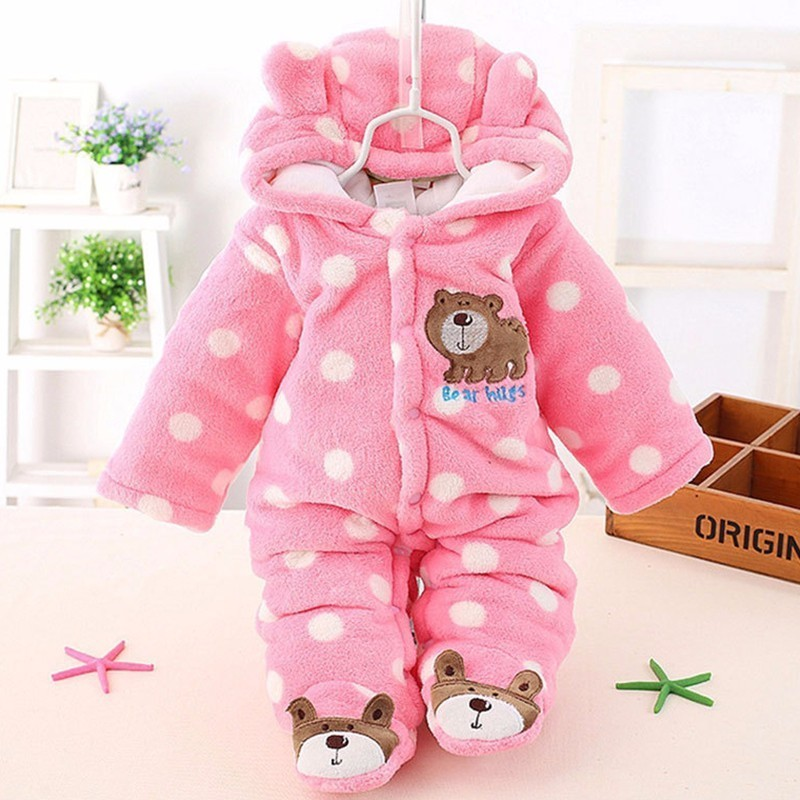 baby Plus velvet thicker coat infant winter clothing bodysuit newborn warm romper jumpsuits for girl toddler cotton warm clothes