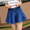 Flounce Denim Skirt 2017 Women's Summer Wrinkled Ruffled Pleated Mini Skirts for Woman Saia Feminina