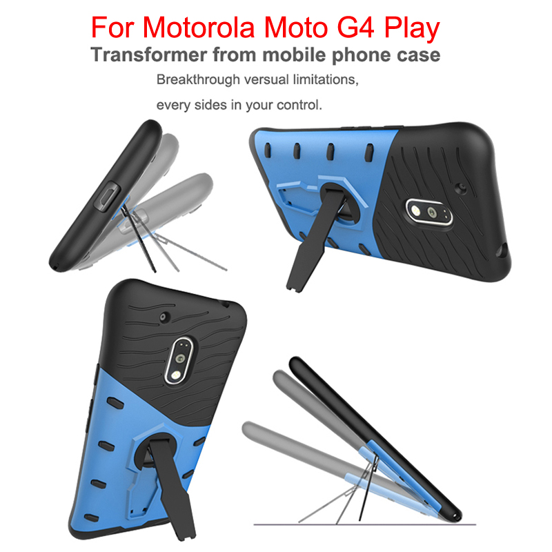 Hybrid Armor Silicone holder Case For Motorola Moto G4 Play TPU+PC Prevent scratch Case with 360 Degree Rotation holder