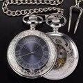 Mens Colar de Prata Antigo Relógio de Bolso Mecânico Vento Mão Dos Homens Retro Com Corrente Pingente Relógio Relógio de Bolso de Esqueleto & Fob Relógios