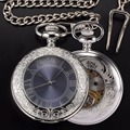 Mens Mechanical Antique Silver Pocket Watch Men Retro Hand Wind Necklace With Chain Skeleton Pendant Clock Pocket & Fob Watches