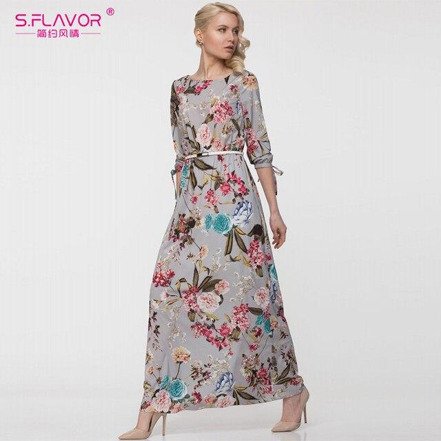 cef0617920b S.FLAVOR women printing long dress Elegant Three quarter sleeve O-neck  casual dress for female New autumn vestidos de festa Belt