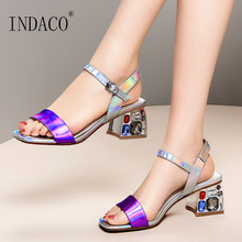 купить Summer Shoes Women Sandals High Heels Sandals women 2019 New Bling Mixed Colors Leather Gemstone Thick Heel Shoes 40 41 42 дешево