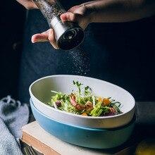 Nordic Ceramic Oval Bowl Fruit Bowl Large Salad Deep Bowl Household Tableware Matte Soup Bowl