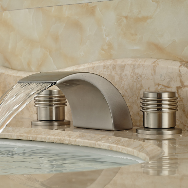 ФОТО Modern Double Handles Waterfall Basin Sink Faucet Deck Mount Brushed Nickel Finish