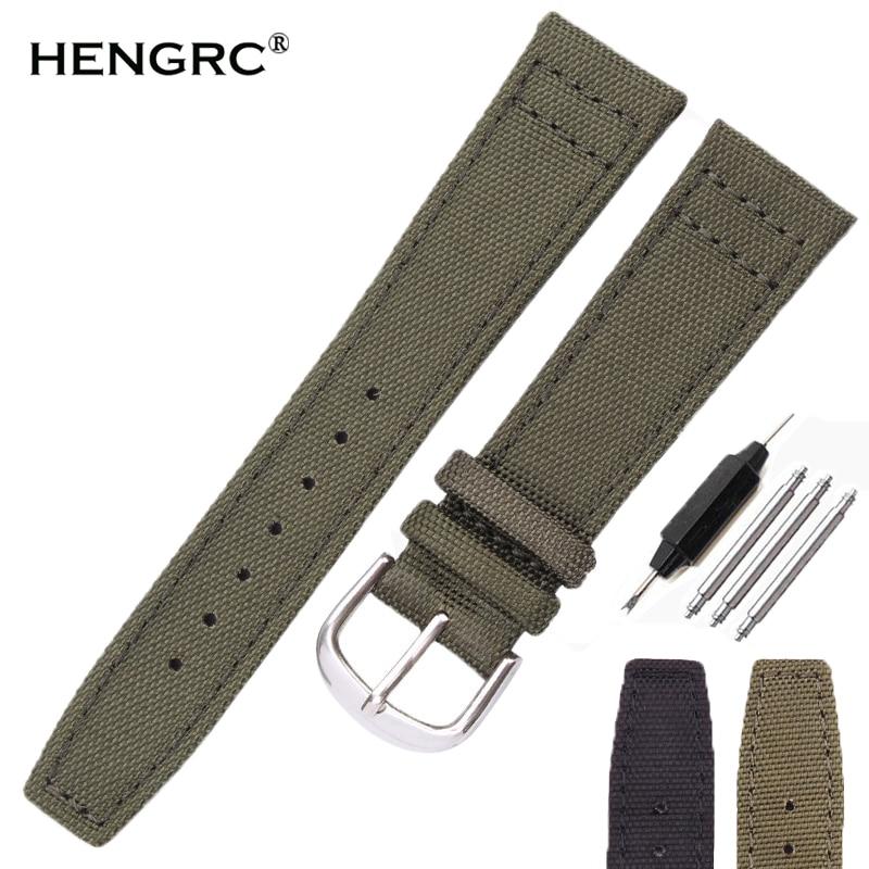 HENGRC Marca Lona Cinta Pulseiras de relógio de Nylon Nato 20mm 21mm 22mm Preto Verde Qualiyt Alta Faixa de Relógio Pulseira com Pin Fivela
