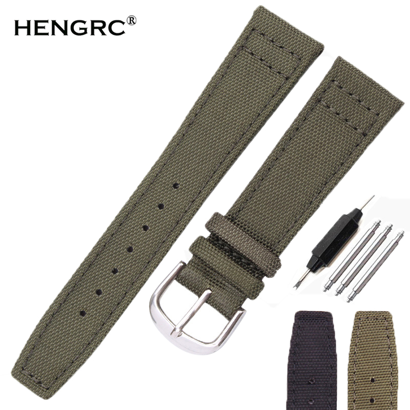 HENGRC Brand Nato Strap Canvas Nylon Watchbands 20mm 21mm 22mm Black Green High Qualiyt Watch Band Bracelet With Pin Buckle