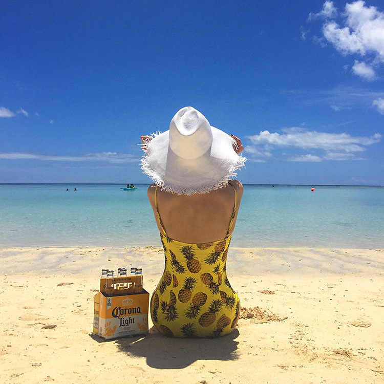 Япония Южная Корея зеленый ананас печати Купальник Цельный тропический желтый Гавайский купальный костюм Купальники морские женские костюмы