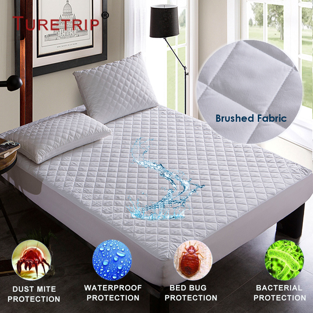 Turetrip Brushed Fabric Quilt Waterproof Mattress Pad Cover Fitted Mattress Protector Colchao Waterproof Sheet Matress Protector