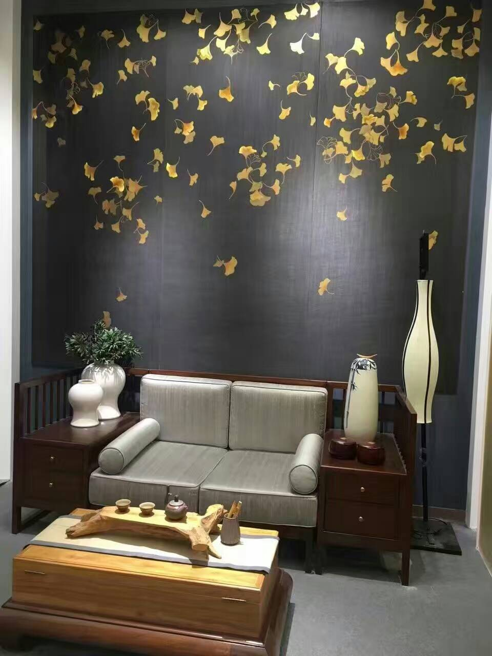 Hand-painted silk wallpaper painting Ginkgo biloba with birds HAND PAINTED wall paper many patterns and background optional