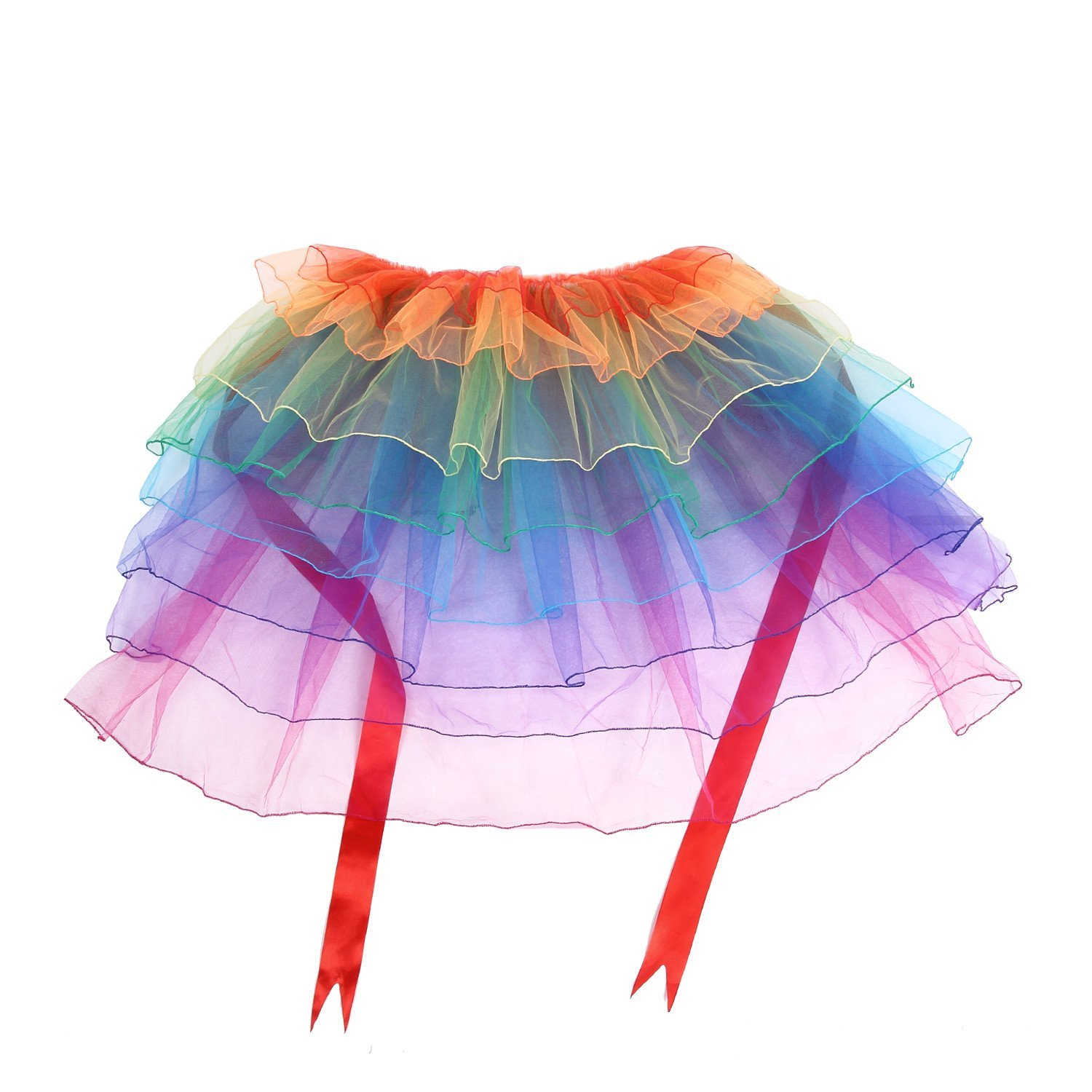 704640b0e US $13.99 |Lady's Rainbow Tutu Bustle Dancing Long Tail Skirt girls'  Layered Bubble dress Organza with Unicorn Headwear-in Anime Costumes from  Novelty ...