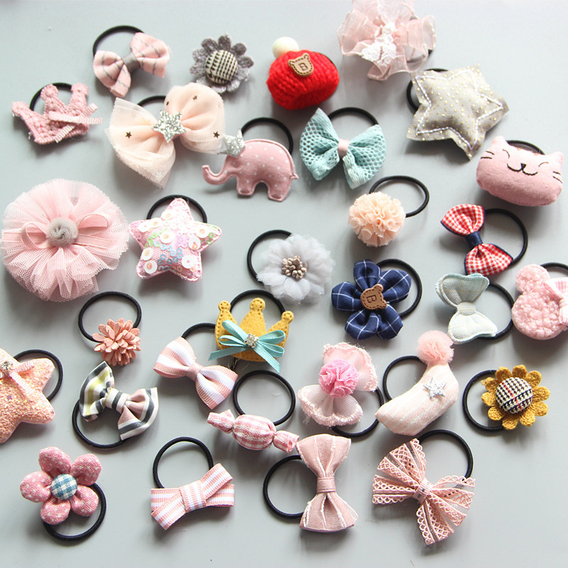 6pcs/set Bow Elastic Hair Bands For Girl Printed Rubber Band Lollipop Hair Ring Tied HairChildren Hair Accessories