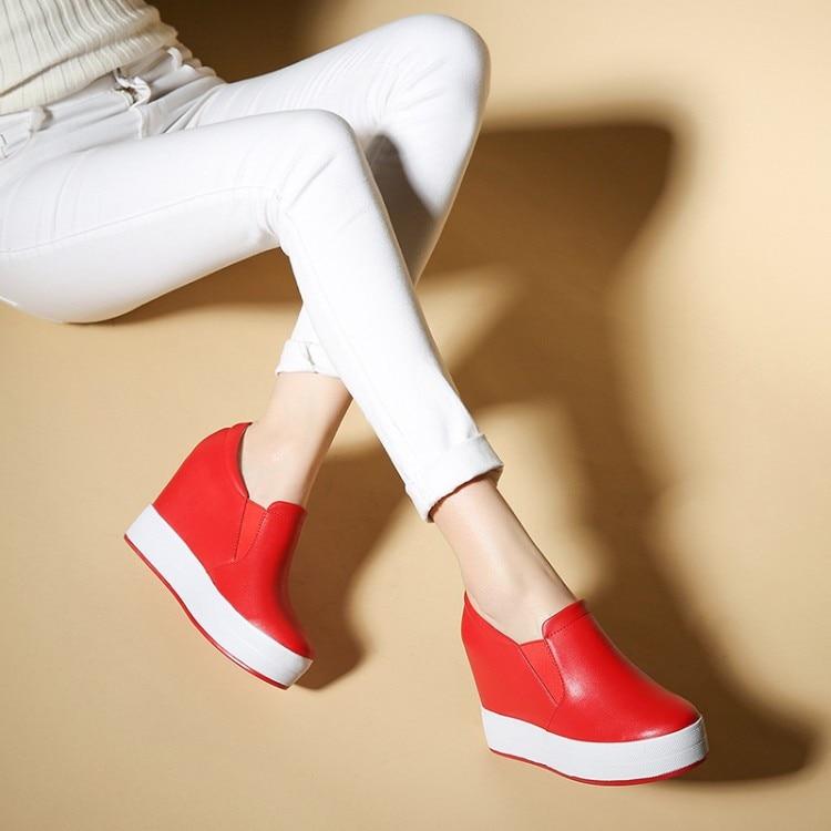 Cuir Vache Plate Sur Hauteur Creepers Femmes Haute Zapatos La blanc Zorssar Cales Chaussures En Casual Augmentation Noir Mujer forme Mode Slip rouge Marque Talons De 507zWnwq6