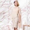 Champagne  Mother Of The Groom Bridal Dresses Sheath Knee Length Pleated Lace   with Jacket vestidos madre de la novia 2016