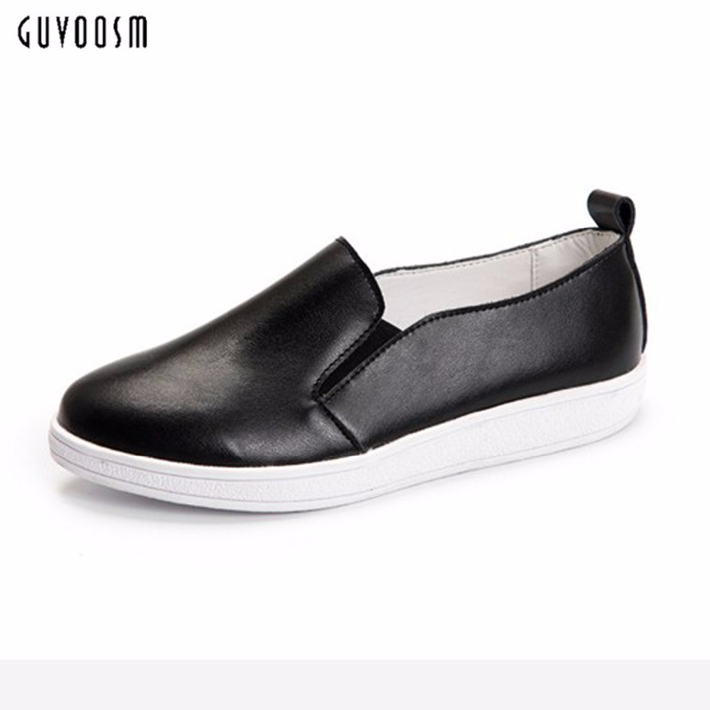 Guvoosm Black Women Flats New Full Genuine Leather Elastic band Female Loafers Casual  Round-toe Rubber Shoes Woman Size 36-43 enmayer print round toe plain elastic band shoes for girls horsehair genuine leather flats spring summer closed toe women flats