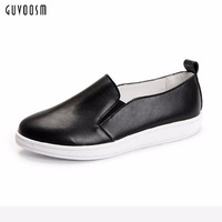 Guvoosm Black Women Flats New Full Genuine Leather Elastic Band Female Loafers Casual Round Toe Rubber