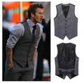 New Fashion 2015 High Quality Slim Fit Black Gray Male Dress Waistcoat  Plus Size Colete Masculino Men business Suit Vest 755