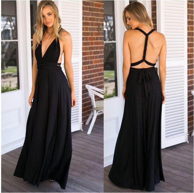 Top Selling Style Method Of Multi Rope Cross Bandage Dress Sexy Halter Dress Long Dress Summer Dress free shipping 2017