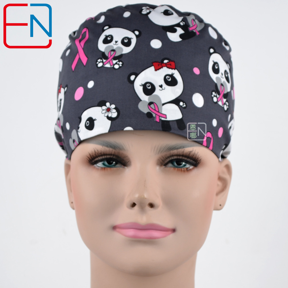 Hennar New Medical Cap Surgical Caps In Grey With Panda Design 3 Sizes For Choices
