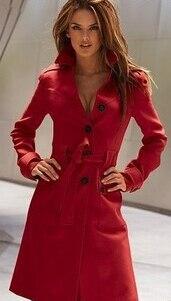 Новинка, модное женское зимнее шерстяное пальто с длинным рукавом, чистый цвет, открытая вилка, пальто, высокое качество, женская одежда, пальто G1514 - Цвет: red