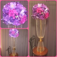 2017 new arrival wedding bouquet display metal crystal holder wedding table decoration cenerpieces road lead