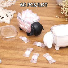 60PCS Wholesale Creative Transparent Sheep Shaped Storage Tank Plastic Desktop Box Toothpick Cotton Swab Paper Clips