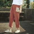 SERENAMENTE 2017 Del Otoño Del Resorte Pantalones de Las Mujeres Ocasionales de La Vendimia Sólido Fluido Larga de Lino Pantalones Sueltos para Mujer Pantalones de Harén
