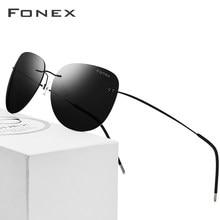 ea6fceea4 الاستقطاب بدون شفة النظارات الشمسية الرجال خفيفة oculos دي سول feminino  الساخن Screwless فرملس سبائك التيتانيوم نظارات شمسية للن.