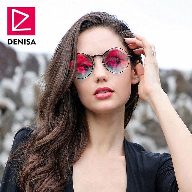 a5be9c53ef DENISA Retro Round Sunglasses Women Men Fashion Steampunk Vintage Rhombus  Sun Glasses Girls UV400 lunette de soleil femme G18034