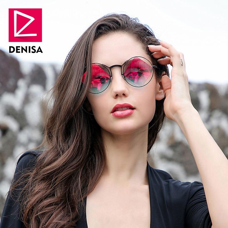 DENISA Retro Round <font><b>Sunglasses</b></font> Women Men Fashion Steampunk Vintage Rhombus Sun Glasses Girls UV400 lunette de soleil femme G18034
