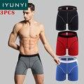 IYUNYI \ lote Homens Boxer Convexo dos homens Marca de Algodão Perna Longa Calças Underwear Masculino Estendido Usar Calças de Algodão perna