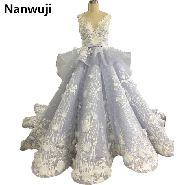 Sky Blue BallGown Prom Dress Lace Chapel Train Real Photos High ...