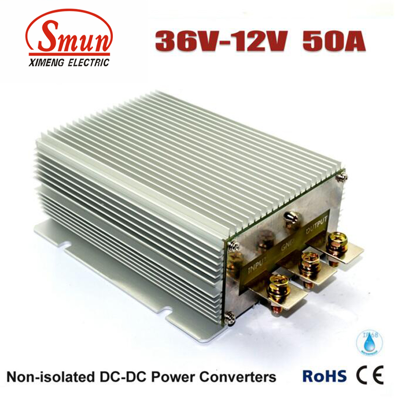 Waterproof IP68 36VDC to 12VDC 50A 600W Buck DC-DC Converter Power Supply