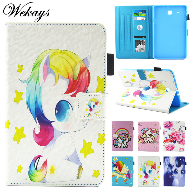 Wekays For Samsung Tab E T560 Cute Cartoon Unicorn Leather Fundas Case For Samsung Galaxy Tab E 9.6 T560 T561 Tablet Cover Case cute pet cat stand cover for samsung galaxy tab e 9 6 sm t560 sm t561 tablet case funda for samsung tab e 9 6 t560 leather cover