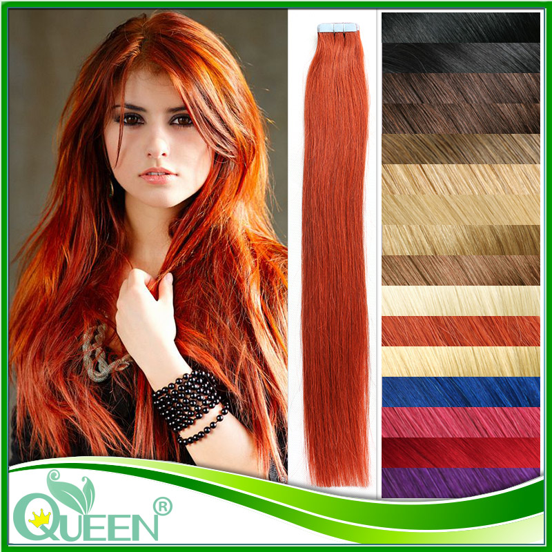 24 Tape In Human Hair Extensions Wavy Skin Pu Weft Hair Extensions