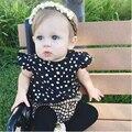 2016 Новых Прибытия Моды Белые Круглые точки футболка + плед шорты костюм младенца костюма младенца одежда модное стиль