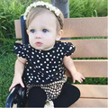 2016 New Fashion Arrival White Round dots T-shirt+ plaid shorts suit baby suit baby clothing fashional style