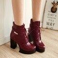 Новые моды для женщин сапоги осень зима кожа ботильоны обувь женщины сексуальные высокие каблуки сапоги на платформе зашнуровать мартин панк сапоги