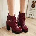 New fashion women boots autumn winter leather ankle boots shoes women sexy high heels platform boots lace up martin punk boots