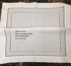 Fashion Men Handkerchiefs 48PCS/Lot 18x18White linen Unisex Handkerchief Towels Embroidered dots Hankies For Special Occasions