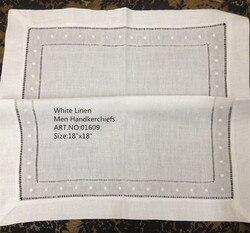 Mode Männer Taschentücher 48 Teile/los 18 x18 Weißem leinen Unisex Taschentuch Handtücher Bestickten punkte Taschentücher Für Besondere Anlässe