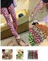 2017 Корейской моды молоко шелкография люминесцентная геометрическая леггинсы брюки оптом конфеты цветные pantyhosePrinte